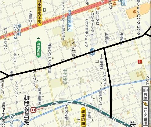 本町通りと赤山通りが黒