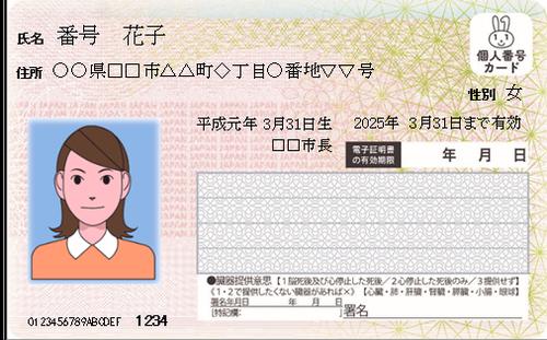 個人番号カード表面