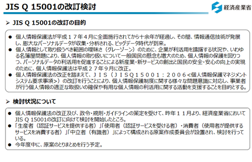 JIS Q 15001の改訂検討
