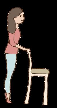 28.背伸び体操する女性