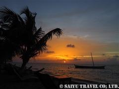 リトルコーン島の沖合に沈む美しい夕陽