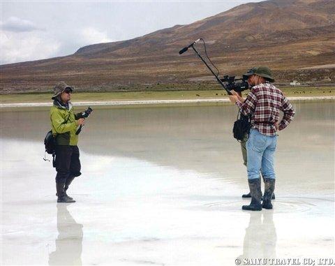 雨季のウユニ塩湖取材の様子