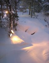 ライティングされた積雪
