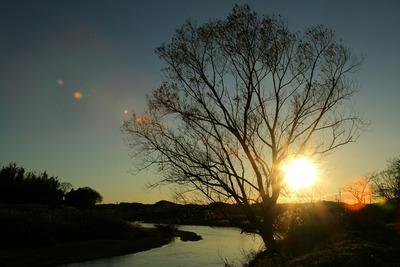 夕刻の河原にて