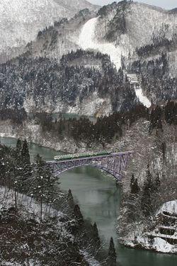 真冬の只見線・第一鉄橋
