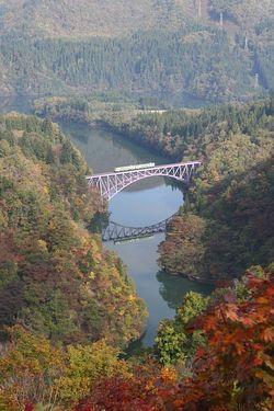 紅葉の只見線・第一鉄橋