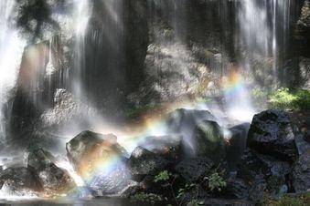 達沢不動滝に架かる虹