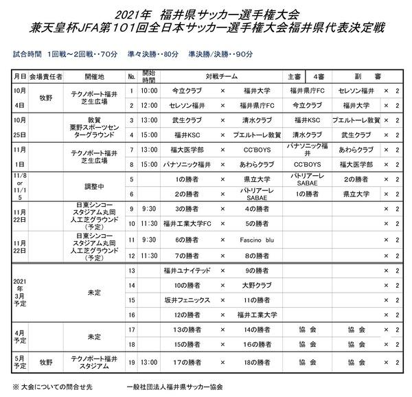2021年県選手権大会トーナメント表2020.10.2