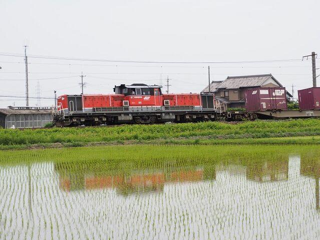 8 DD51-1801 コンテナ列車 白鳥信号所にて その1