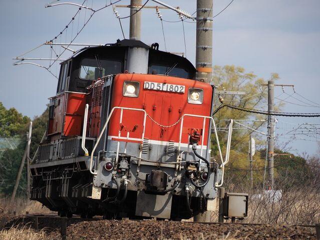 5 DD51-1802 単機回送 白鳥信号所にて その2