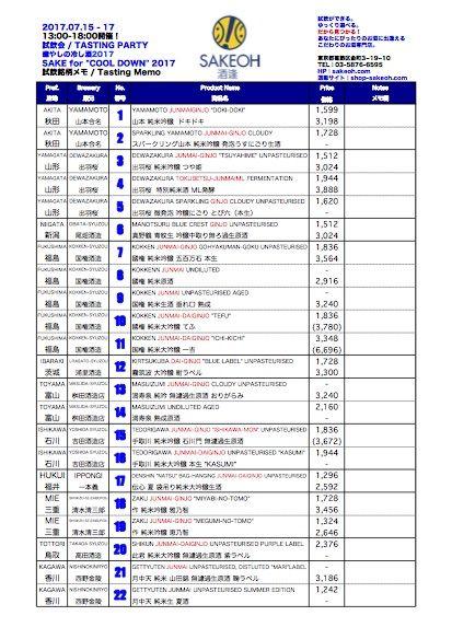 癒やしの冷し酒2017 試飲リスト(イメージ)