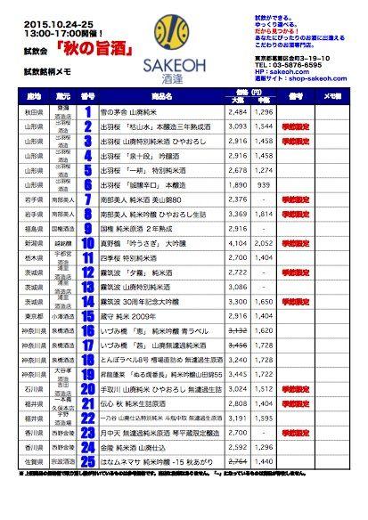 秋の旨酒2015銘柄情報(イメージ)
