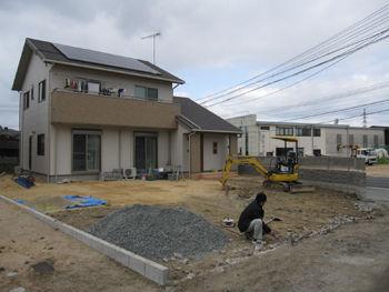 外構工事 既存ブロックの解体