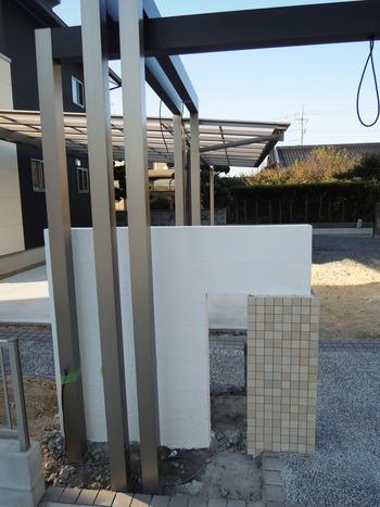 門柱のタイル貼り