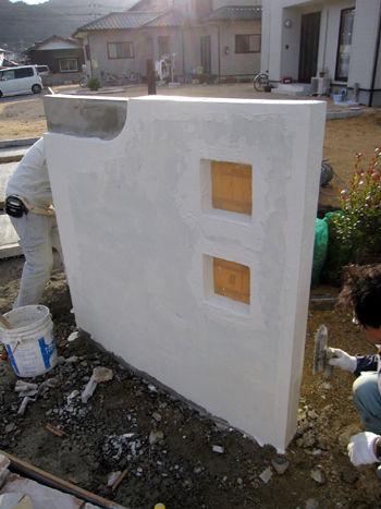 山口県 エクステリア 外構工事 門柱の仕上げ