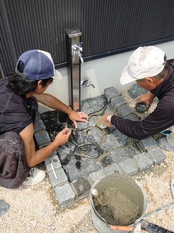 立水栓工事中