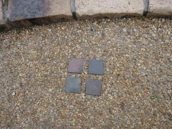 天然石のポイントタイルの埋め込み
