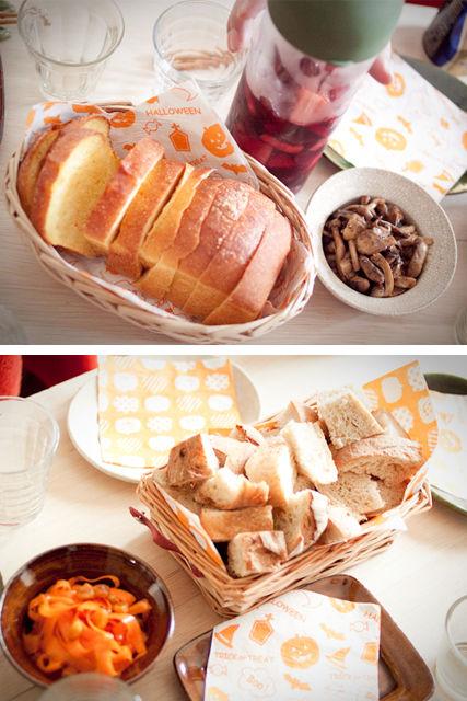 切ったパンと前菜