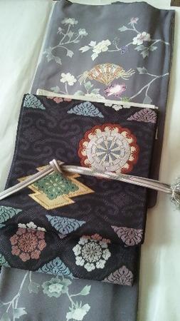加賀友禅紫着物と有職文様帯