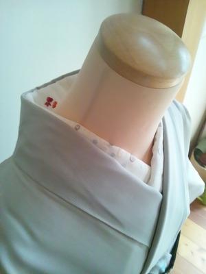 水玉と金魚刺繍半襟