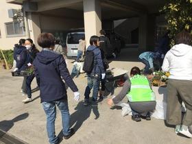 土合中20180304花植活動4