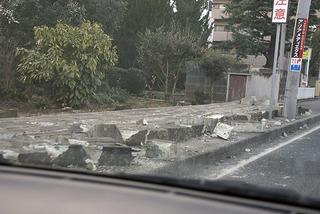 倒れた大谷石の塀