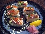 旗籠家トロサーモンの押し寿司