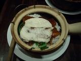 豚角煮と山芋の土鍋飯