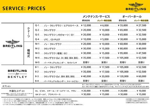 メンテナンス価格表