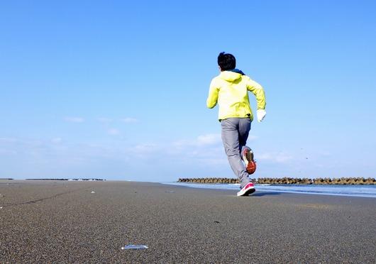 青山海岸をジョギング