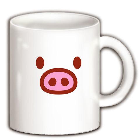 【かわいい豚グッズ!】かわキャラシリーズ ブタちゃん顔 マグカップ(ホワイト)