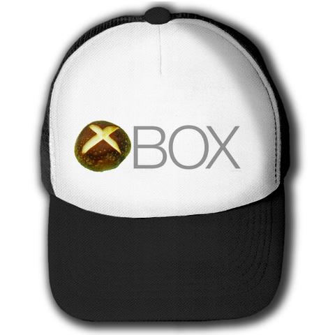 XBOXロゴ風Tシャツ【しいたけマニア必須!】しいたけボタンシリーズ シイタケBOX(前面のみ) キャップ(ブラックxホワイト)