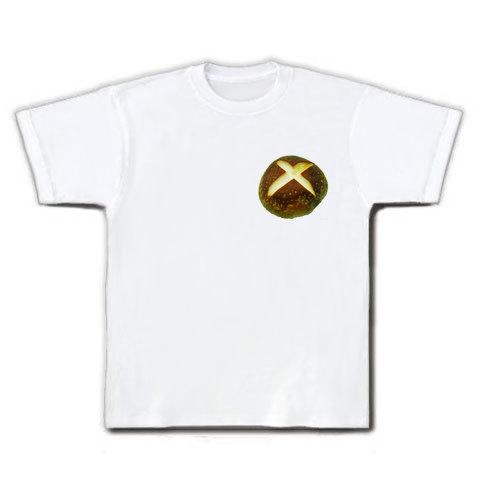 XBOXロゴ風!【しいたけマニア必須!】しいたけボタンシリーズ しいたけボタン(両面プリント) Tシャツ(ホワイト)
