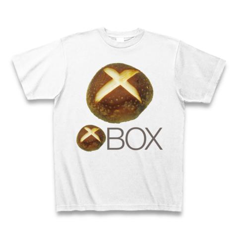 【しいたけマニア必須!ゲーム系グッズ?】しいたけボタンシリーズ シイタケBOX(前面大しいたけ、再レイアウトver) Tシャツ(ホワイト)
