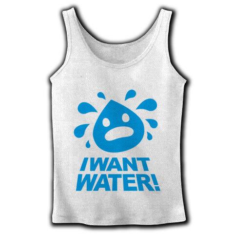 【東京マラソンで着るタンクトップを考える】I WANT WATER!(水をくれ!) リブタンクトップ【暑い!熱中症で死にそう!水をくれ!ポップで可愛く叫ぶTシャツ!】