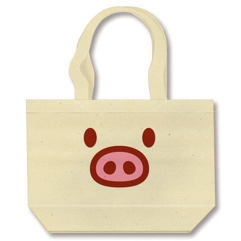 【かわいい豚グッズ!】かわキャラシリーズ ブタちゃん顔(前面のみ) トートバッグ(ナチュラル)