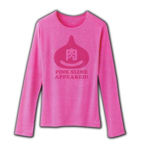 【ゲームTシャツ?ゲームグッズ?マクドは使ってません!】パロディシリーズ ピンクスライム肉があらわれた! リブクルーネック長袖Tシャツ(ピンク)【おもしろパロディTシャツ】