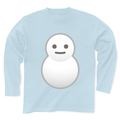 【かわいい雪だるまTシャツ!】かわキャラシリーズ 雪だるま 長袖Tシャツ Pure Color Print(ライトブルー)