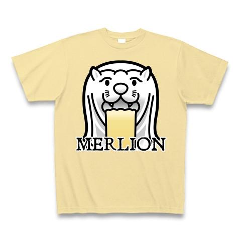 【今夜もゲロリ!宴会・飲み会グッズ!比喩表現としてのマーライオン!】レッテルシリーズ マーライオン(イラスト顔アップ英字ロゴver) Tシャツ Pure Color Print(ナチュラル)【キモいおもしろTシャツ】