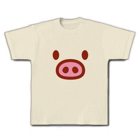 【かわいい豚グッズ!】かわキャラシリーズ ブタちゃん顔 Tシャツ(ナチュラル)