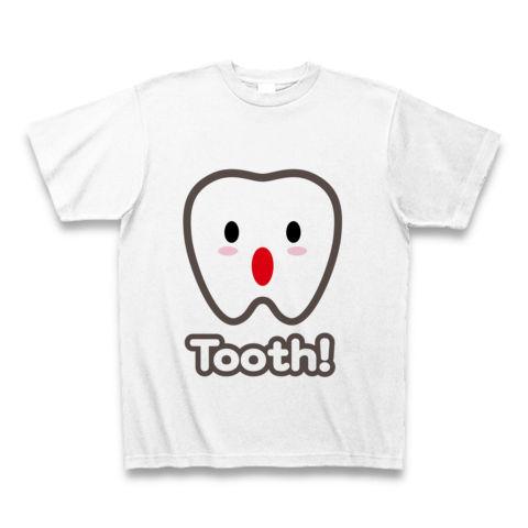 【トゥース!カスガじゃないよ、かわいい歯イラスト!】かわキャラシリーズ トゥース!(歯)英語ver. Tシャツ(ホワイト)【おもしろカワイイTシャツ!】