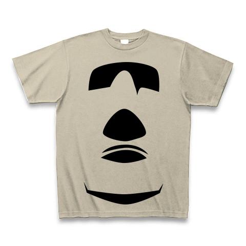 【イースター島からの使者!世界の七不思議グッズ!】かおシリーズ モアイの顔(2012再レイアウトver) Tシャツ(シルバーグレー)【モアイTシャツ】