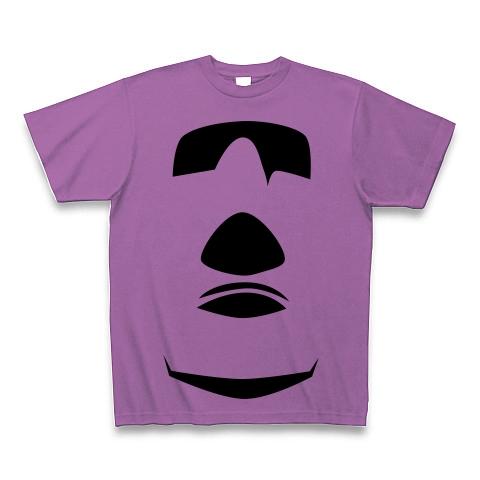 【イースター島からの使者!世界の七不思議グッズ!】かおシリーズ モアイの顔(2012再レイアウトver) Tシャツ(ラベンダー)【おもしろ歴史パロディグッズ】