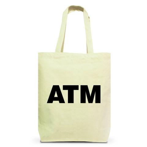 【お金持ち発見!これが私の理想の彼氏像!】レッテルシリーズ ATM トートバッグM(ナチュラル)【おもしろトートバッグ】