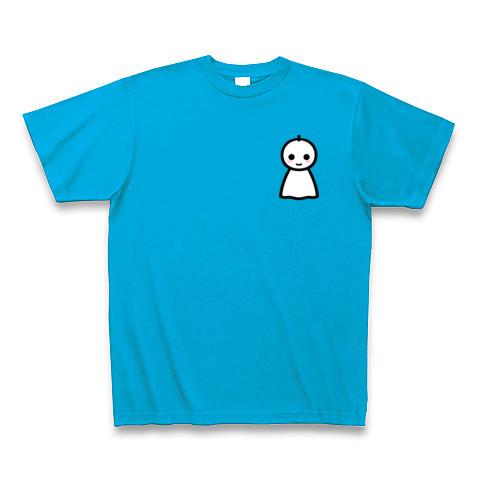 【かわいいてるてる坊主で、あした天気になあれ!】かわキャラシリーズ てるてる坊主(口あり背面メインver) Tシャツ Pure Color Print(ターコイズ)【かわいいTシャツ】