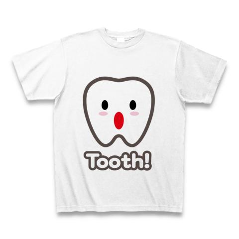 【トゥース!カスガじゃないよ、かわいい歯イラスト!】かわキャラシリーズ トゥース!(歯)英語ver. Tシャツ(ホワイト)【かわいい歯キャラグッズ】