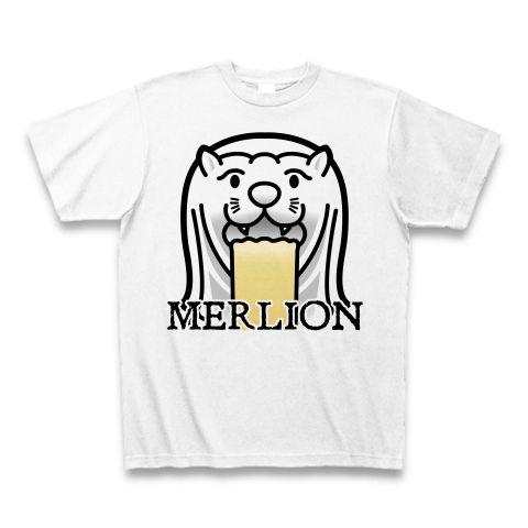 【今夜もゲロリ!宴会・飲み会グッズ!比喩表現としてのマーライオン!】レッテルシリーズ マーライオン(イラスト顔アップ英字ロゴver) Tシャツ(ホワイト)【おもしろ宴会余興Tシャツ】