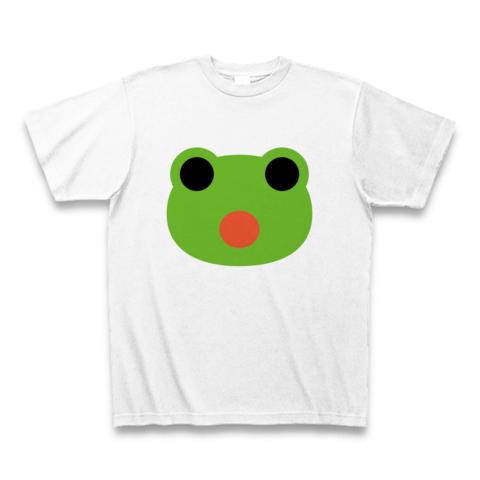 【君の胸にカエルの顔が!シンプルでかわいいカエルちゃんグッズ!】かわキャラシリーズ かえるちゃん顔 Tシャツ(ホワイト)【かわいいTシャツ】