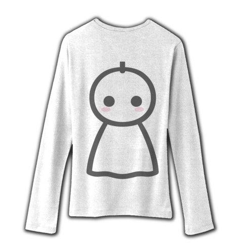 【かわいいてるてる坊主で、あした天気になあれ!】かわキャラシリーズ てるてる坊主(グレー背面メインver) リブクルーネック長袖Tシャツ(ホワイト)【かわいいTシャツ】