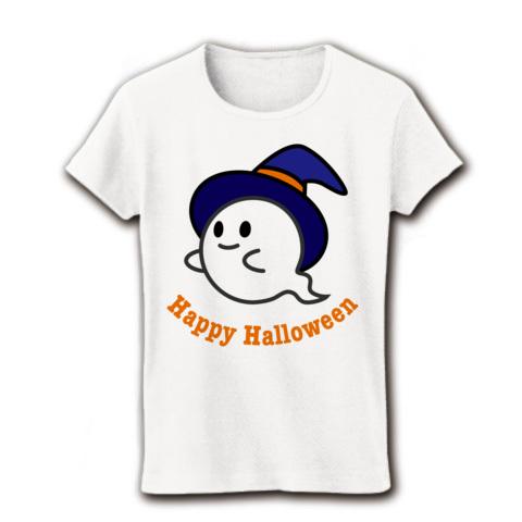 【ハッピーハロウィン!かわいいハロウィングッズ!】かわキャラシリーズ ハロウィンおばけ リブクルーネックTシャツ(ホワイト)